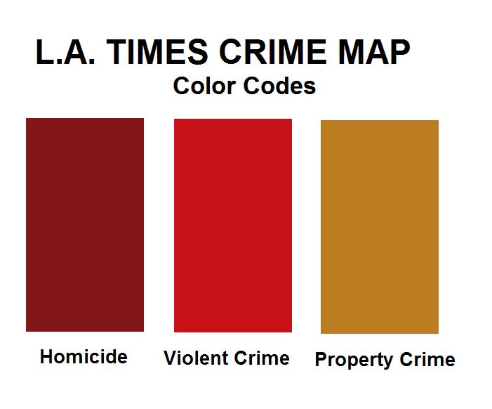 Los Angeles violent crime map color code