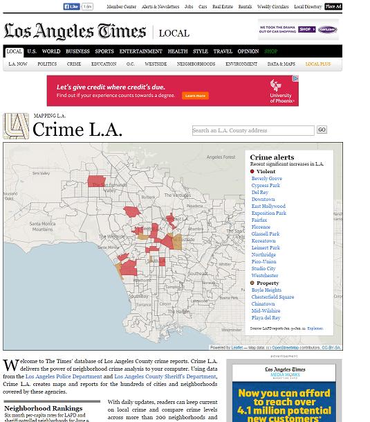 la times crime map home page