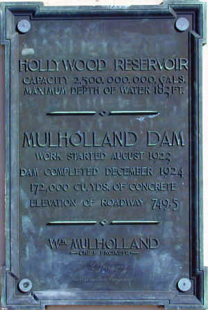 Mullholland Dam Plaque