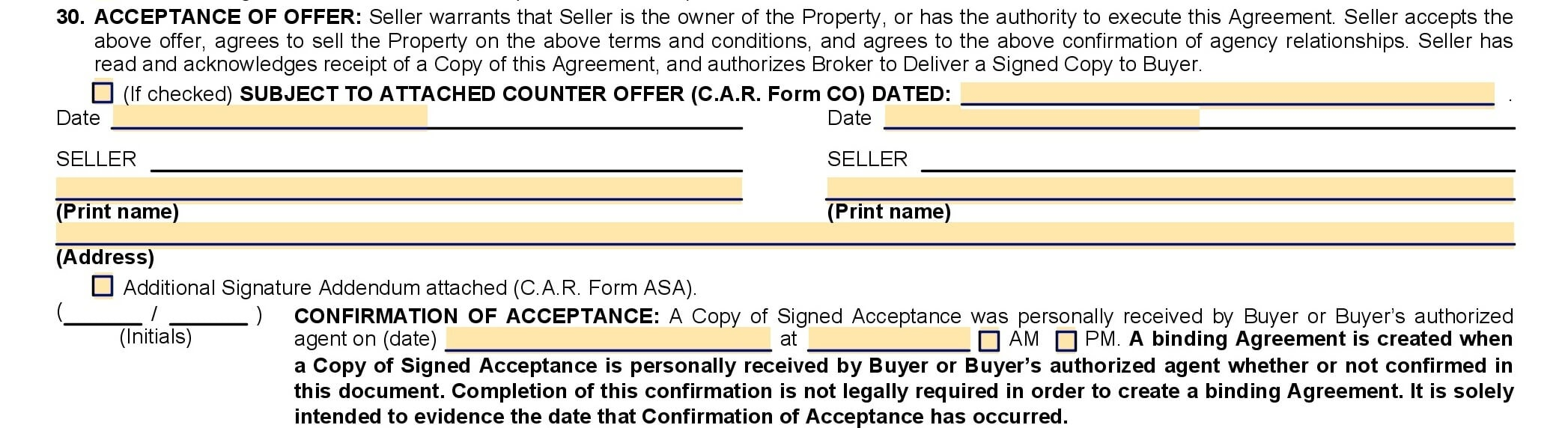 CAR purchase agreement