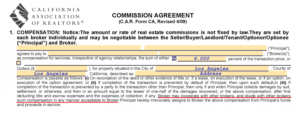 Real estate broker agent agreement
