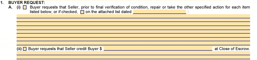 Request for Repairs Section 1