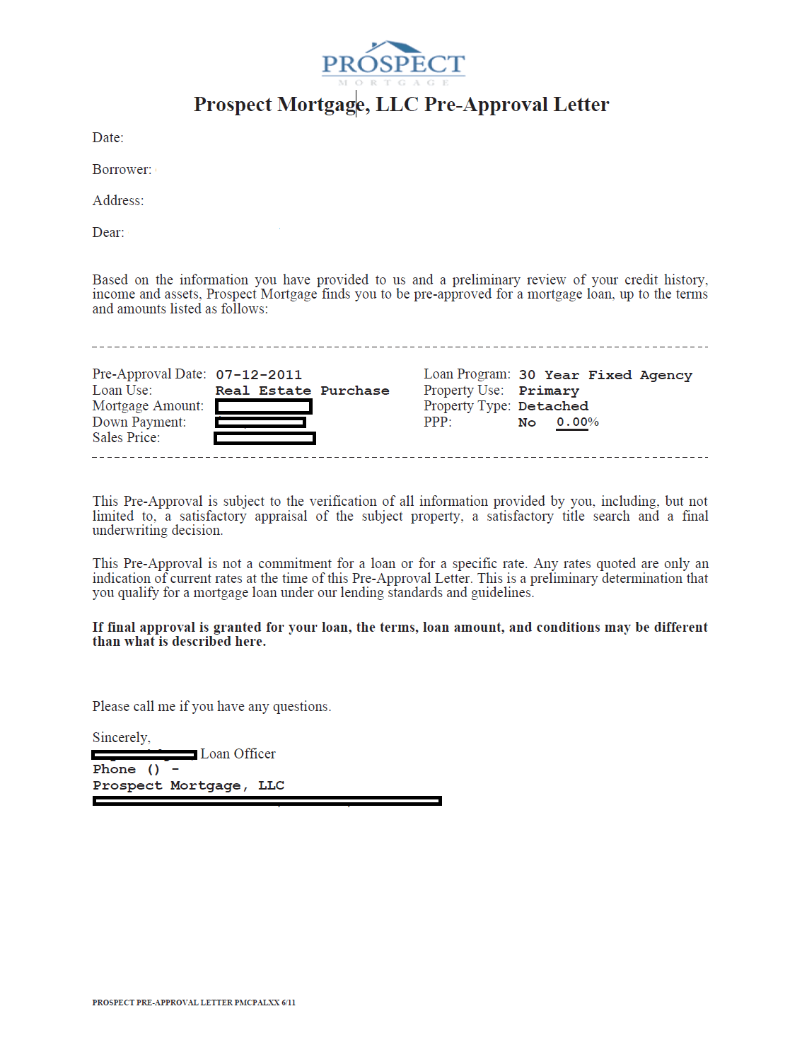 prospect mortgage preapproval letter example
