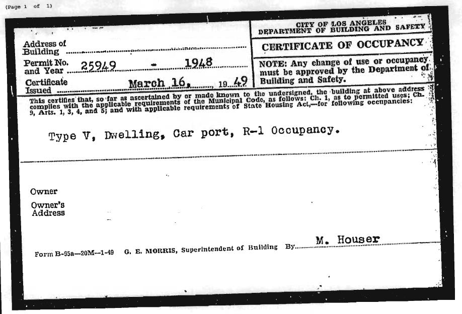 Los Angeles Certificate of occupancy 1948
