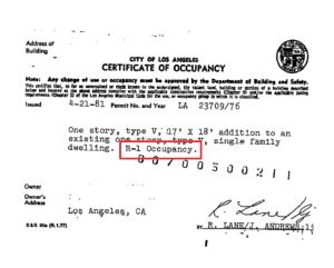 Certificate of Occupancy Los Angeles 1981