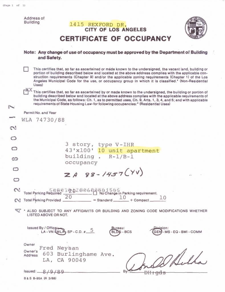 1415 Rexford Drive certificate of occupancy