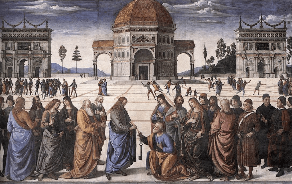 'Delivery of Keys'  by Pietro Perugino, 1481