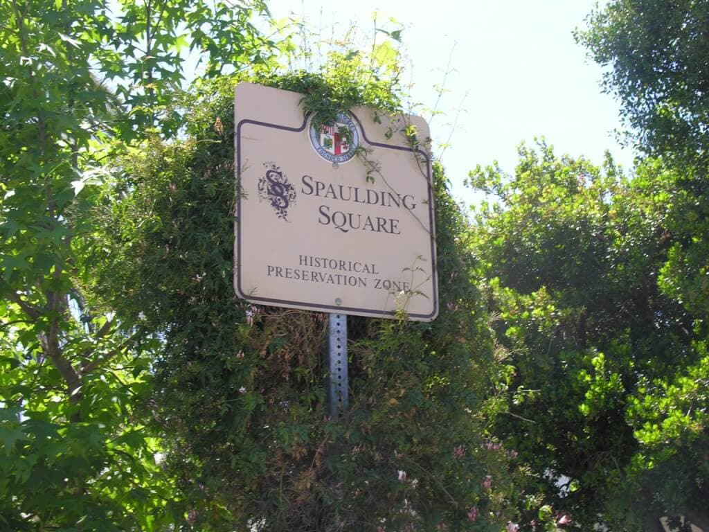 Spaulding Square HPOZ sign