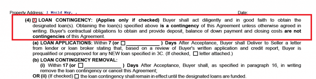 Loan Contigency probate