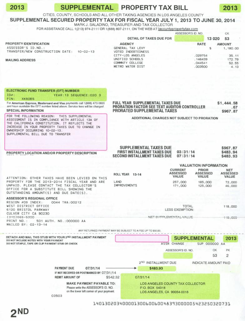 Sample supplemental tax bill