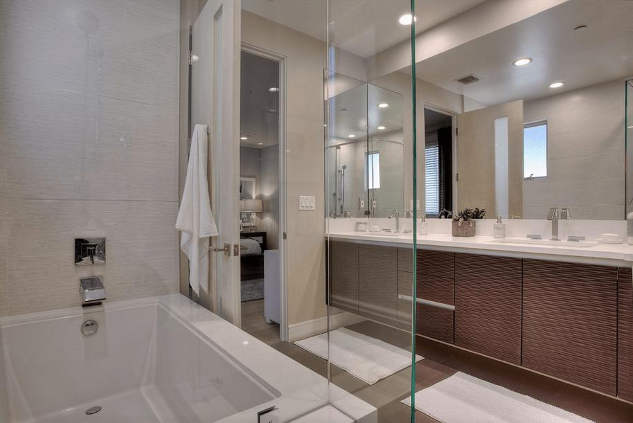 national moder living master bathroom
