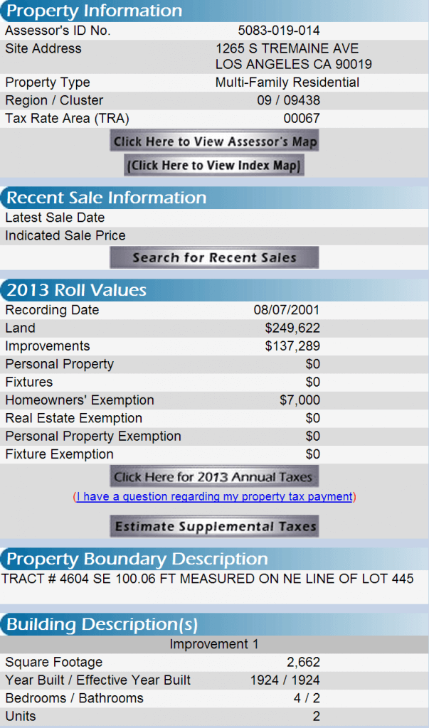 1265 tremaine property profile