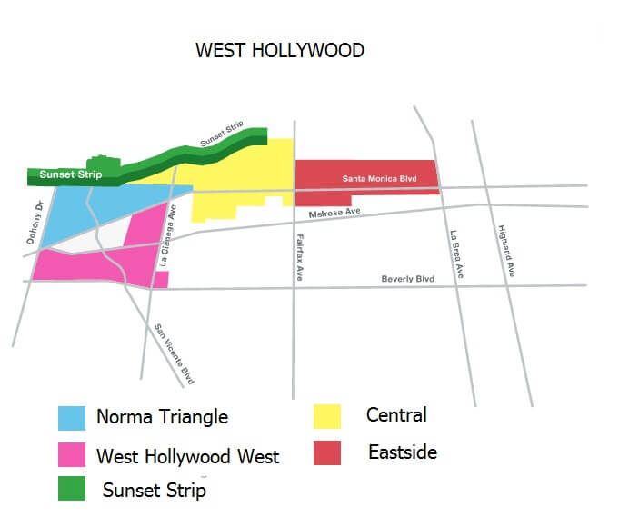 West Hollywood Neighorhood Map