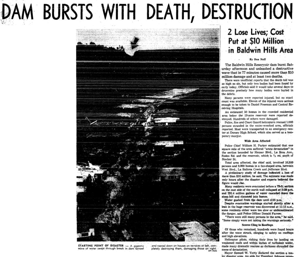 Dam burst with death and destruction